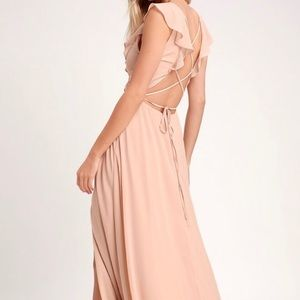 LuLu's Feel the Rush Blush Lace-Up Backless Maxi